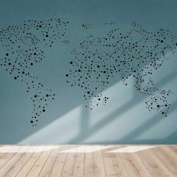 vinilo mapa círculos dispersos negro