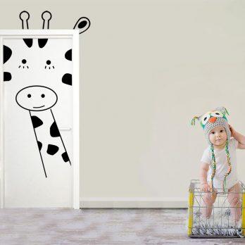 vinilo puerta infantil jirafa