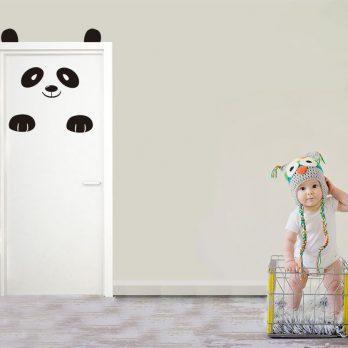 vinilo puerta infantil oso panda