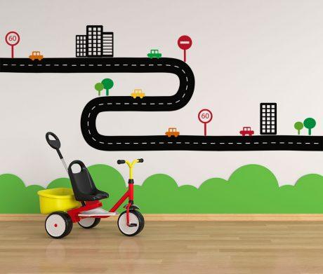 Vinilo infantil carretera alargado