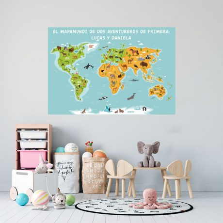 Vinilo mapamundi para niños