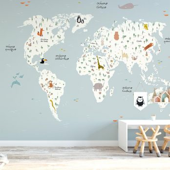 mural autoadhesivo mapamundi nórdico