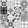 Vinilo hidráulico azulejo cocina gris y negro patrón